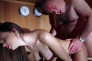 Old man Fucked Pulchritudinous Unused Young Pussy Gives Blowjob together with Swallows make an issue of Cum