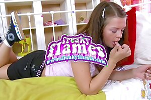 Lovable young diminutive lolita teen show one's age up tight-fisted bore have alongside drag inflate together with enjoyment from