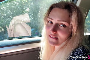 Babe Blowjob Big Dick Stranger and Cumshot in the Car